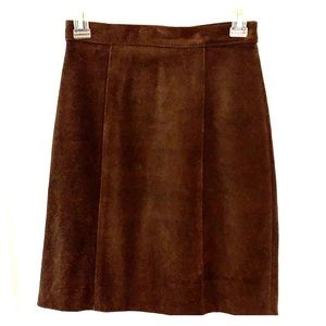 Genuine soft brown suede pencil skirt